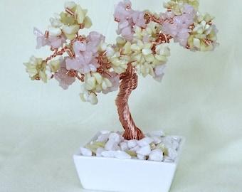 Genuine Rose Quartz and Green Jade Crystal Copper Wire Gemstone Bonsai Tree of Life Feng Shui Heart Chakra
