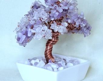 Genuine Purple Jade and Clear Crystal Quartz Copper Wire Beaded Bonsai Tree of Life Crystal Healing Bonsai Tree Feng Shui