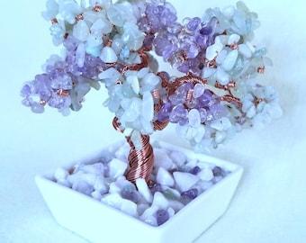 Genuine Ametrine and Green Jade Copper Wire Beaded Bonsai Tree of Life Crystal Healing Bonsai Tree Feng Shui