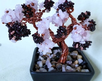 Genuine Rose Quartz and Garnet Copper Wire Crystal Gemstone Bonsai Tree of Life  Feng Shui Heart Chakra