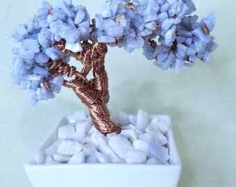 Genuine Blue Lace Agate Crystal Copper Wire Bonsai Tree of Life  Feng Shui Throat Chakra