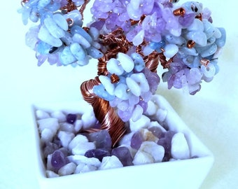 Genuine Purple Jade and Aquamarine Crystal Copper Wire Beaded Bonsai Tree of Life Feng Shui Throat Chakra Heart Chakra