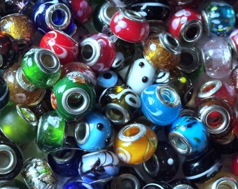 Rondell Large Hole 5mm Spacer Resin Beads Multi Colored Beautiful lot of 50