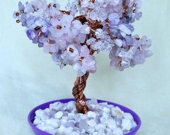 Genuine Purple Jade, Rose Quartz and Clear Quartz Crystal Copper Wire Gemstone Beaded Bonsai Tree of Life Feng Shui Heart Chakra