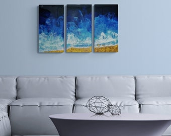 """Acrylic Triptych Dutch Pour Painting Fluid Art Each piece is 10"""" x 20 """" Beautiful Ocean Iridescent colors and a Resin Finish"""