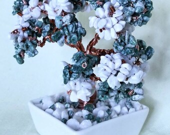 Genuine Tree Agate and White Marble Crystal Bonsai Tree of Life Copper Wire Feng Shui Bonsai Tree Heart Chakra