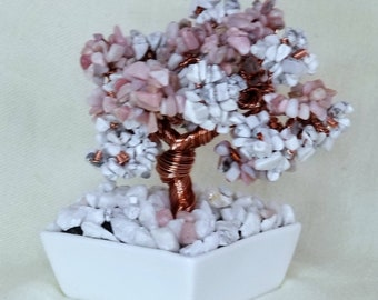 Genuine Pink Opal and White Howlite Crystal Copper Wire Beaded Bonsai Tree of Life Healing Feng Shui Crown Chakra Heart Chakra