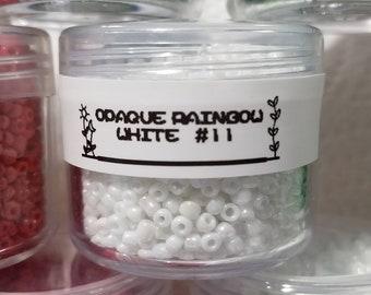 Glass Seed Bead 11/0 Opaque Rainbow White #11 30g