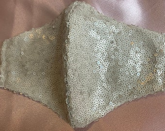 Fashion Beige Tan Sequence Face Mask Covering