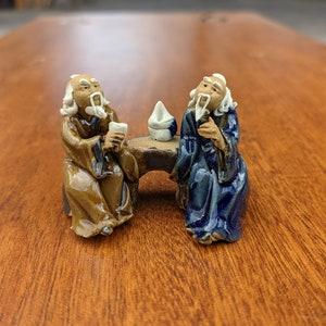 unique office mudman birthday gift handmade miniature decor asian style collectible Bonsai Figurine Bridge small statue
