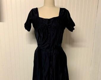1950s Navy Satin Dress