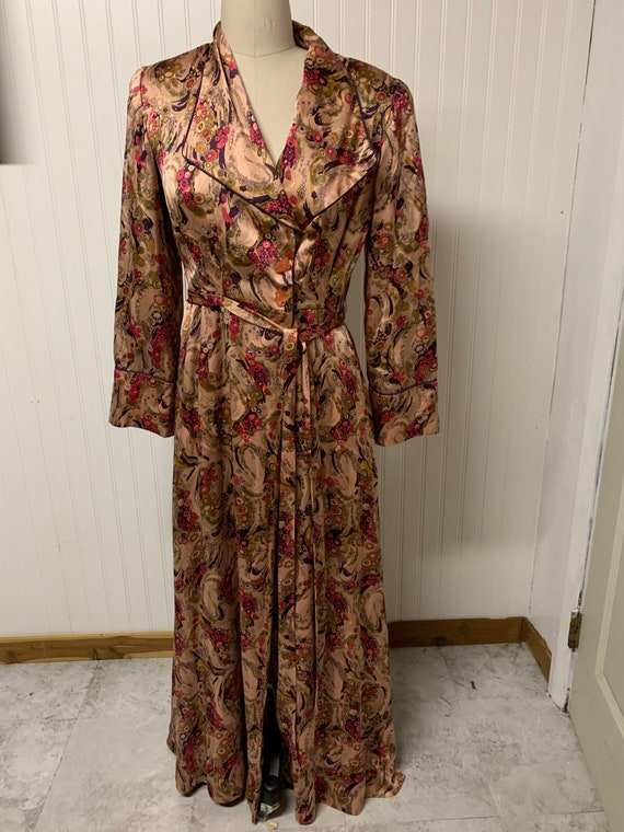1930's Satin Printed Dressing Robe