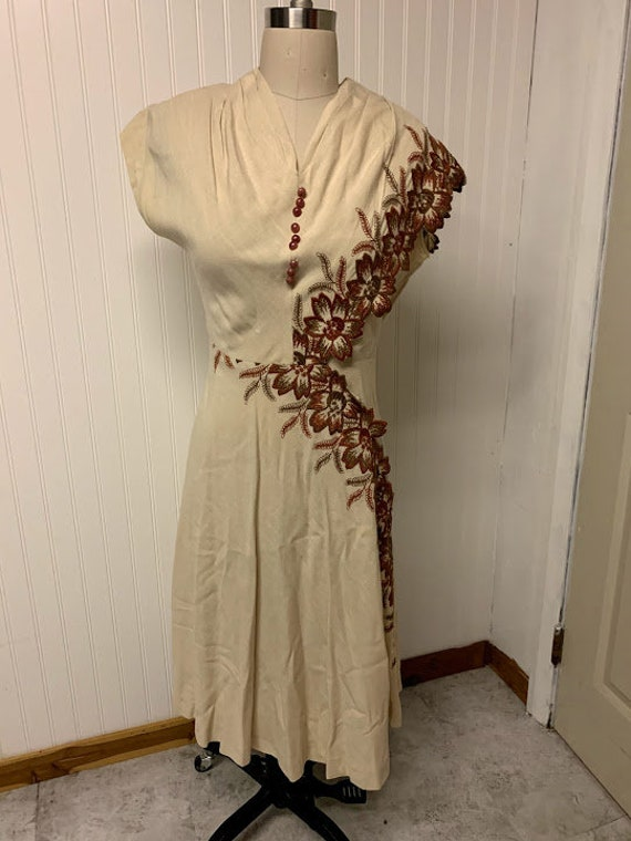 1940's Embroidered Linen Dress