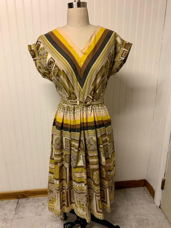 1950's Printed Cotton Dress