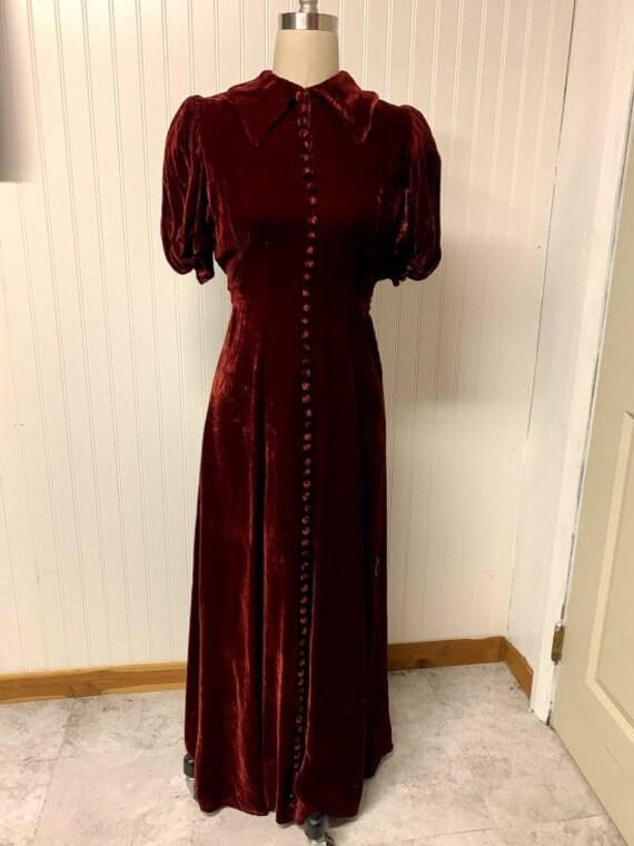 1930's Red Velvet Gown