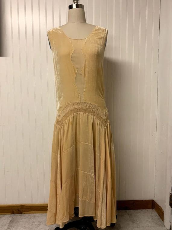 1920's Silk Velvet Smocked Dress