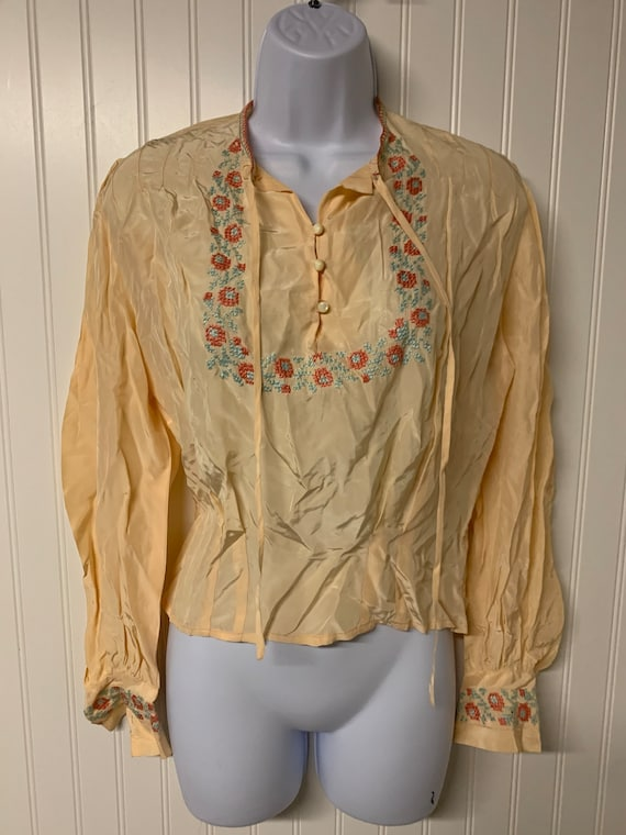 1940's Silk Embroidered Blouse
