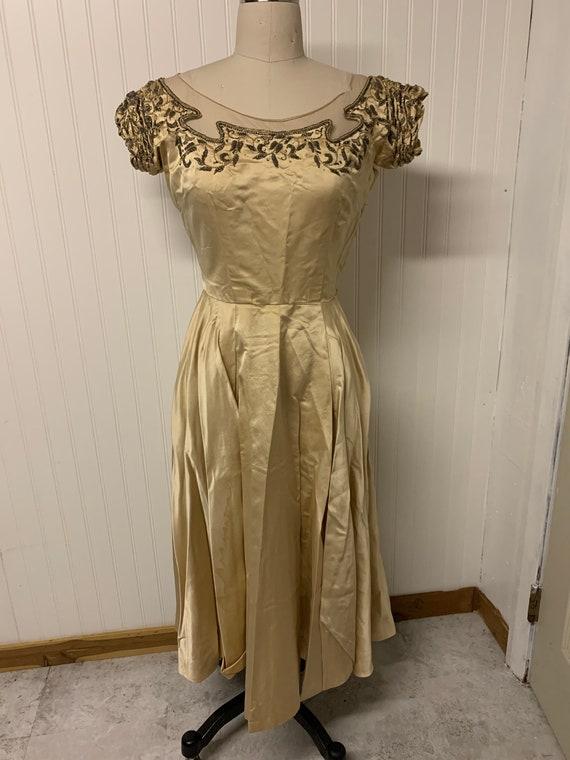 1950's Satin Beaded Dress