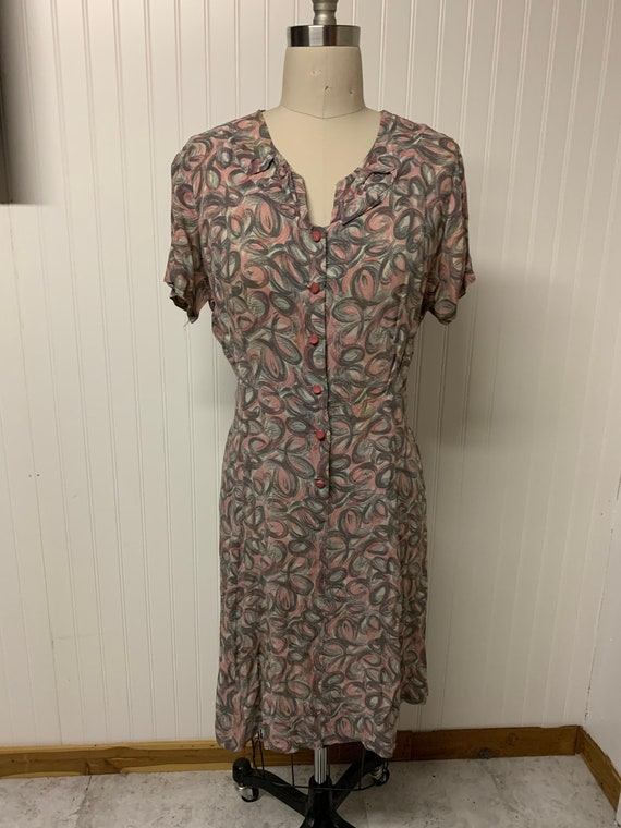 1940's Rayon Printed Dress