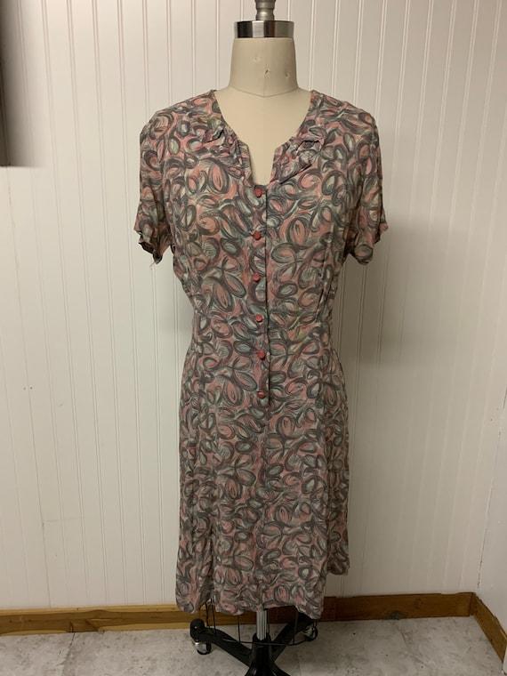 1940's Rayon Printed Dress