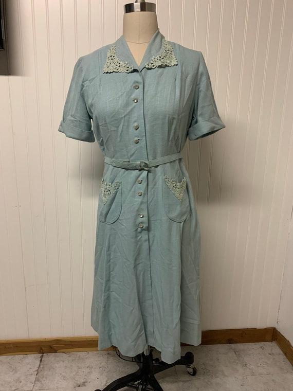 1940's Blue Linen Dress