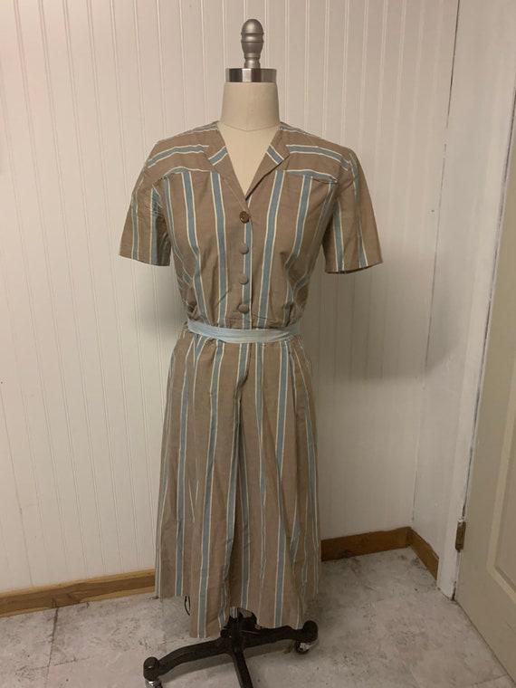 1940's Cotton Striped Dress