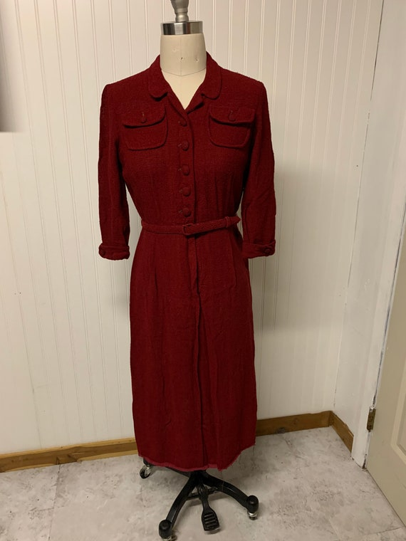 1940's Red Knitted Dress