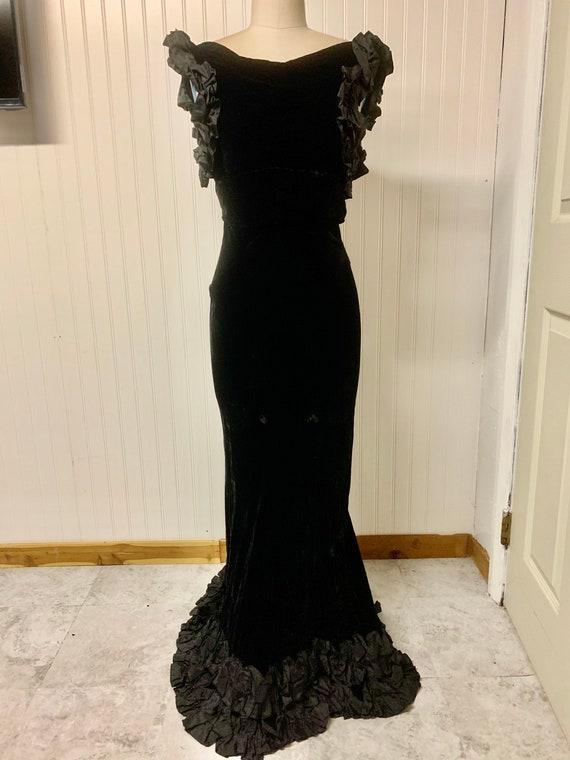 1930's Black Velvet Bias Gown