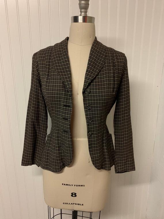 1940's Plaid Wool Blazer