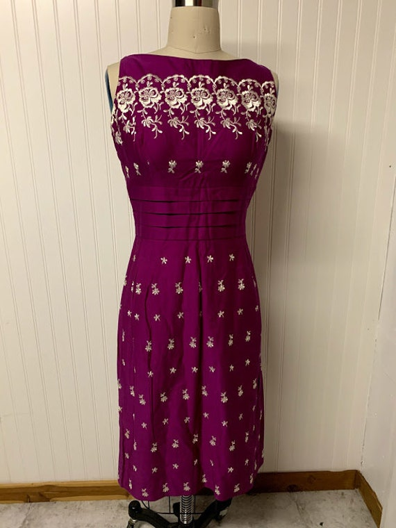 Magenta 1960's Embroidered Cotton Dress