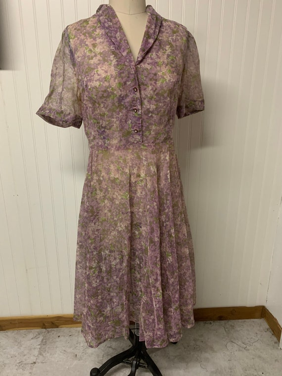 1940's Floral Sheer Nylon Dress