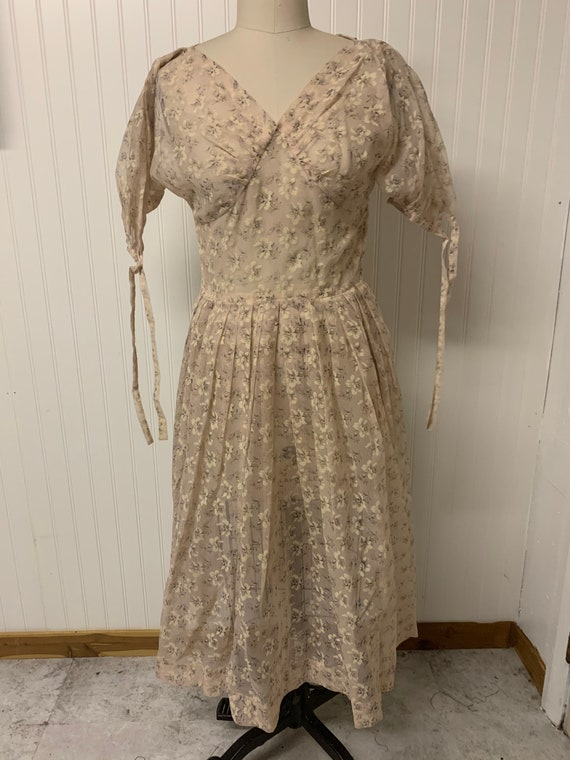 1940's Sheer Nylon Floral Dress