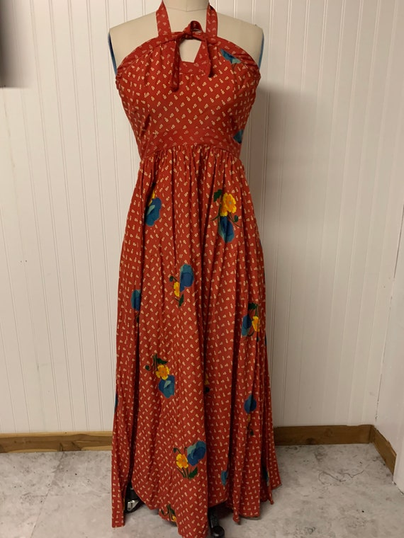 Vintage 1970's Cotton Maxi Dress