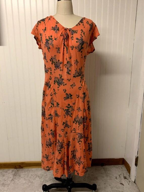 Vintage Orange Cotton Gauze Dress