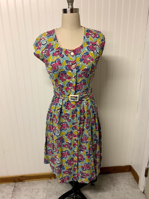 1950's Cotton Printed Dress