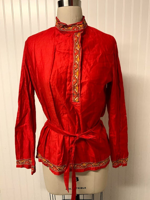 Vintage 1970's Raw Silk Embroidered Tunic