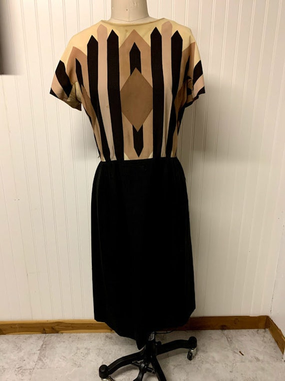 1940's Art Deco Printed Day Dress