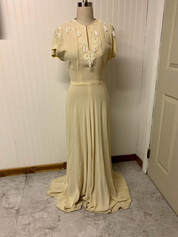 1930's Beaded Crepe Gown