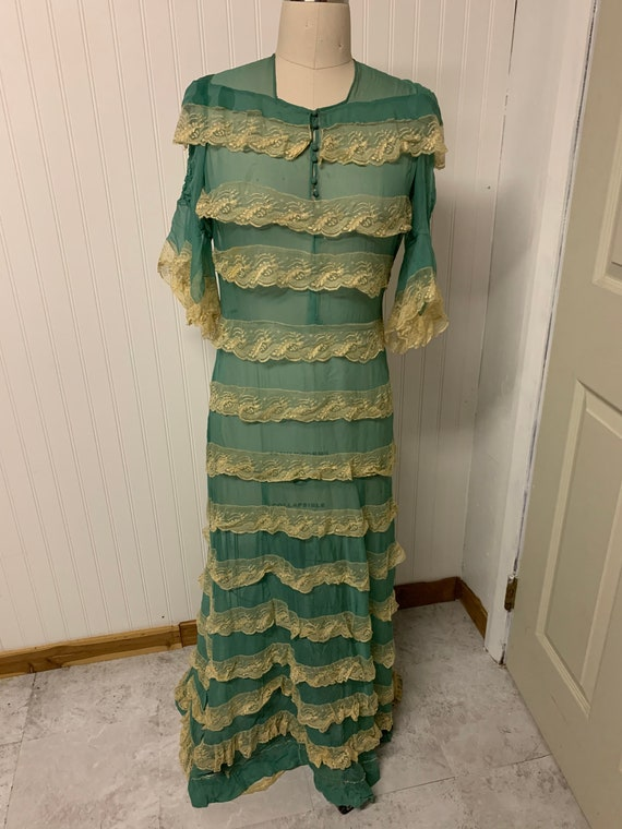 1930's Teal Chiffon Dress