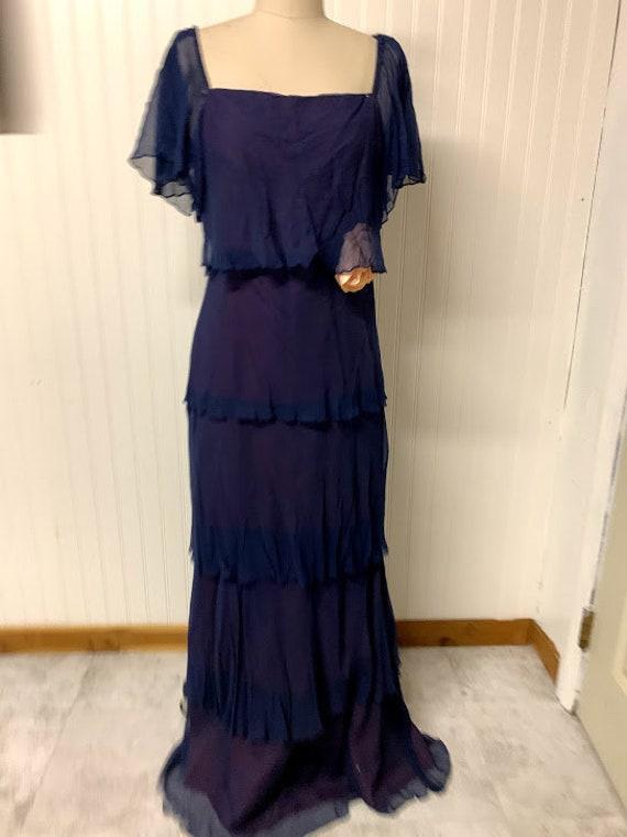 1930's Chiffon Ruffle Gown