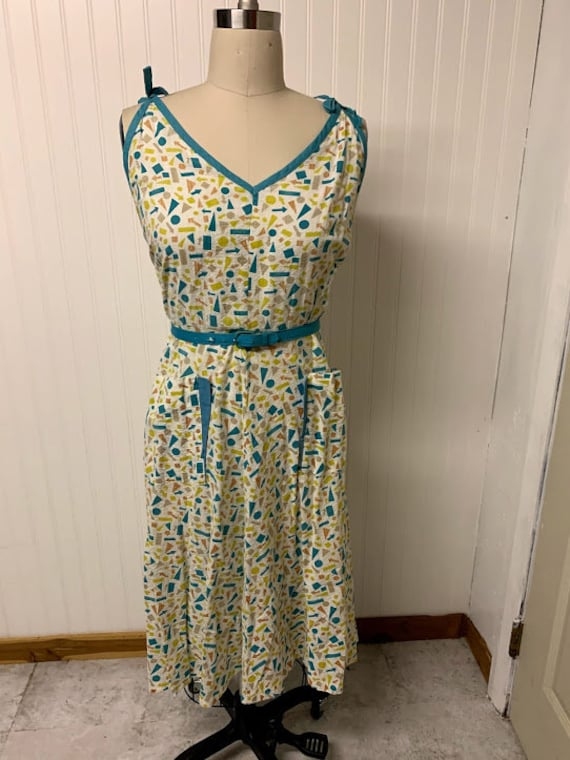 1940's Cotton Printed Dress