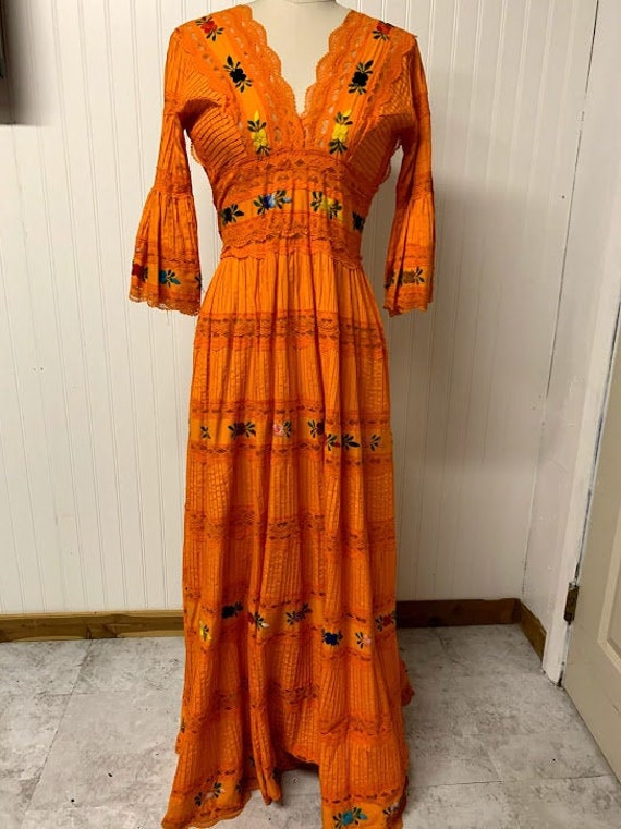1970's Mexican Style Embroidered Maxi Dress