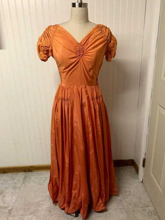 1940's Orange Gown