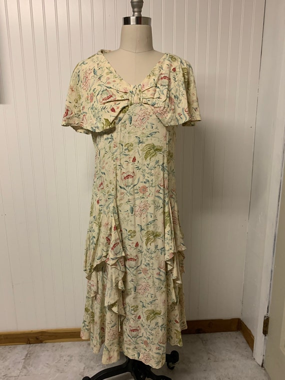 1930's Rayon Floral Printed Dress