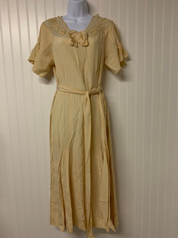 1930's Crepe Dress with Appliqué Neckline
