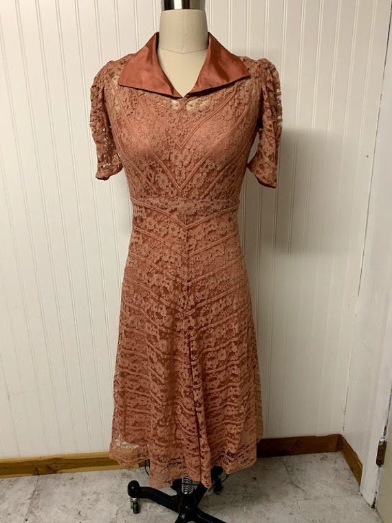 1940's Pink Lace Dress - image 1