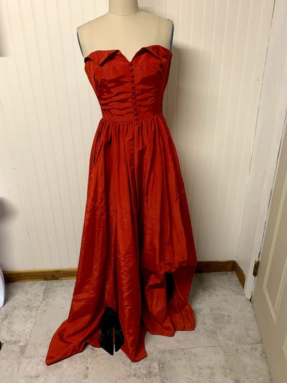 1940's Red Taffeta Gown