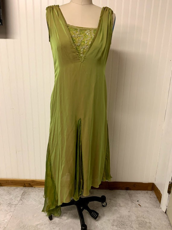1920's Asymmetrical Green Chiffon Dress