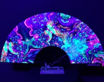 The Chemical Palette Hand Fan / 3D UV Glow Fan / Clacking Fan / Rave Accessory / Festival / Loud Clack / Edc / Club Fan / Big Fan / Neon