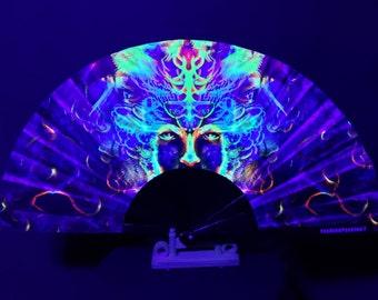 The 3 Oracles Hand Fan / UV Glow Fan / Clacking Fan / Rave Accessory / Festival / Loud Clack / Edc / Wonderland / Club Fan / Dragon